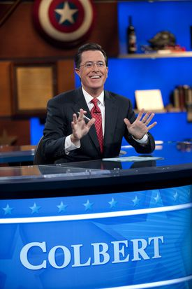 """Stephen Colbert enjoys a taping of """"The Colbert Report"""" in New York."""