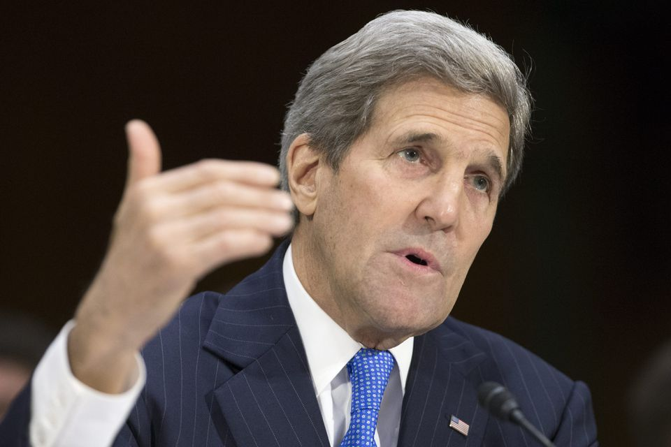 US Secretary of State John Kerry spoke during a Senate Foreign Relations Committee hearing on Wednesday.