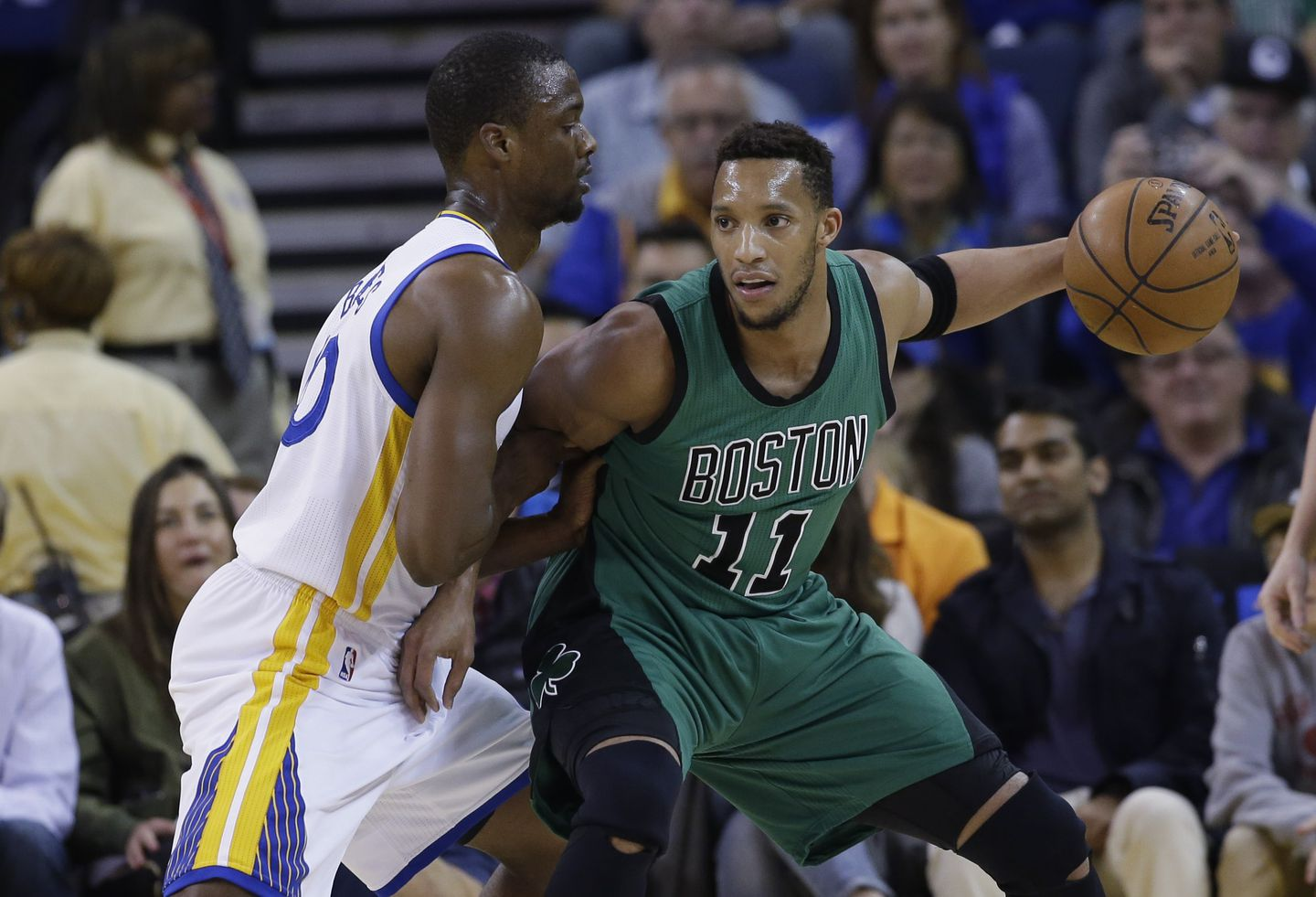 8f688bbb958 Celtics forward Evan Turner was defended by Warriors forward Harrison  Barnes during the first half.