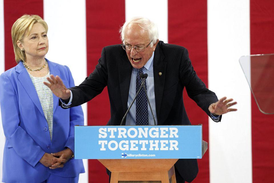Senator Bernie Sanders endorsed presumptive Democratic presidential nominee Hillary Clinton Tuesday in Portsmouth, N.H.
