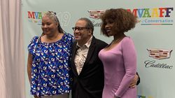 """From left: Director Liesl Tommy, Georgetown professor Michael Eric Dyson, and actress and singer Jennifer Hudson at a screening of """"Respect"""" on Martha's Vineyard on July 30."""