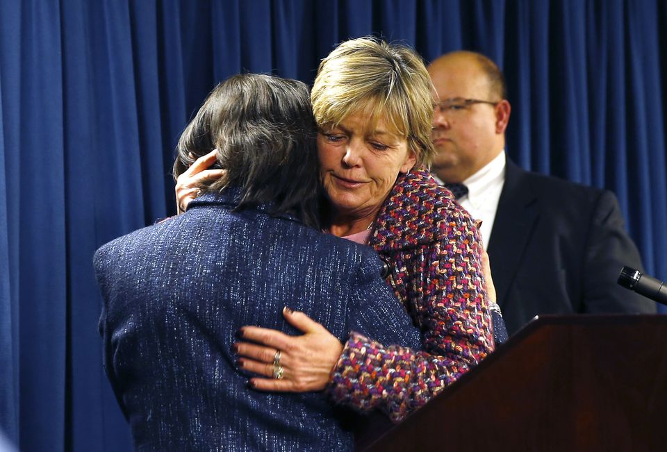 Rizzo, the mother of Sampson murder victim Jonathan Rizzo, embraced Ortiz at the end of the press conference.
