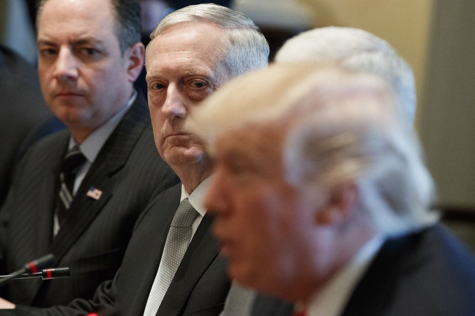 Secretary of Defense James Mattis listens as President Trump speaks during a meeting with Iraqi Prime Minister Haider al-Abadi at the White House.