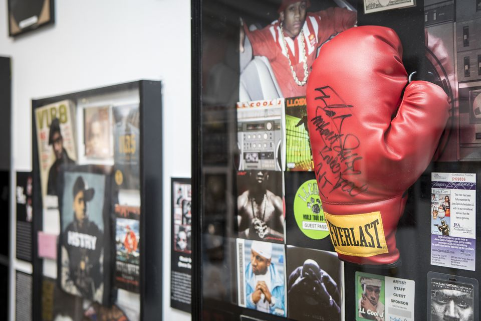 """A boxing glove from LL Cool J with the inscription """"Mama said knock you out."""""""