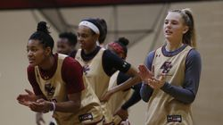 Boston College basketball players Taylor Soule (left) and Cameron Swartz are shown at a practice in 2020.