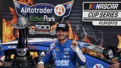 Kyle Larson celebrated after winning at Texas Motor Speedway Sunday.