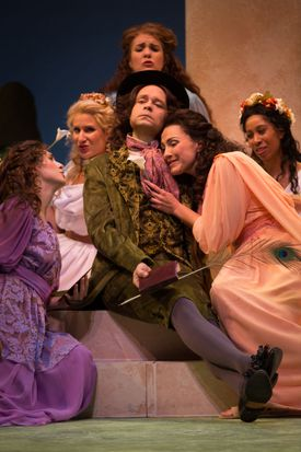 """As the poet Bunthorne, Aaron Engebreth was the center of attention in Odyssey Opera's presentation of """"Patience; or, Bunthorne's Bride."""""""