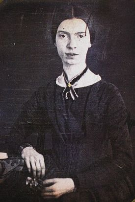 A daguerrotype of Emily Dickinson, age 16, on display at the Emily Dickinson Museum in Amherst.