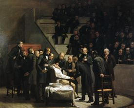 The first operation under ether in 1846.