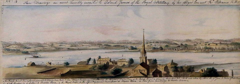 A British officer created a panoramic landscape as seen from Beacon Hill as part of his duties in 1775.