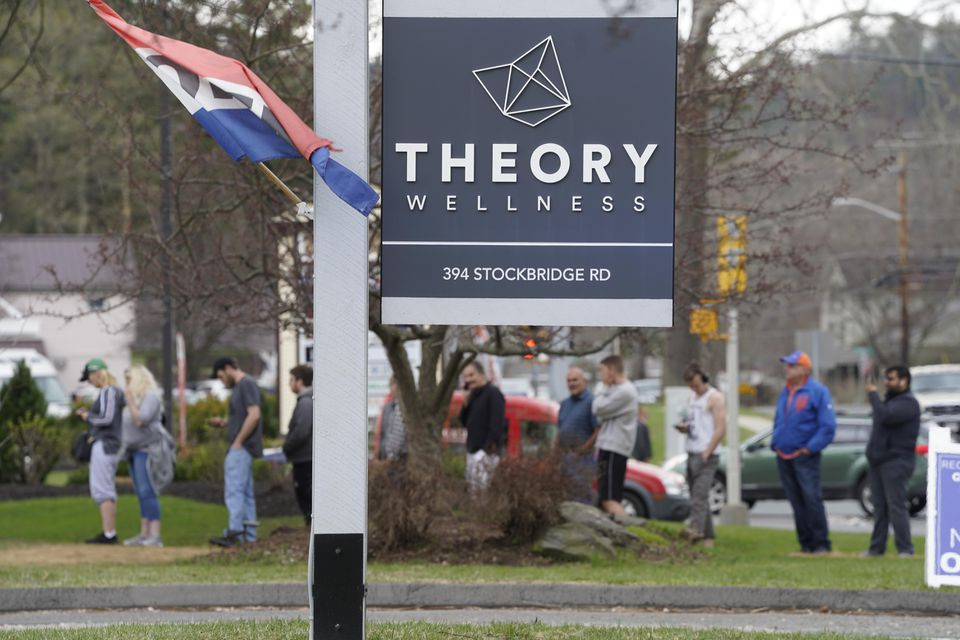 A long line leads all the way to the roadway at Theory Wellness in Great Barrington on Friday.