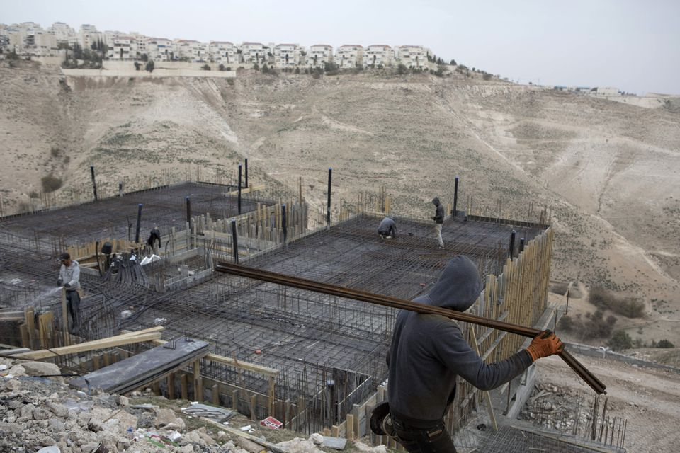 Palestinian laborers in Ma'ale Adumim, a Jewish settlement in the occupied West Bank, as pictured last month.