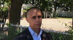 11RIELORZA  - Mayor Jorge Elorza of Providence speaks to the media after visiting an encampment in the city's west end Friday. (Brian Amaral/Globe Staff)