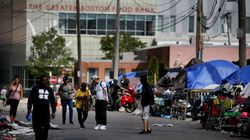 Tents and makeshift shelters line Topeka Street in the area known as Mass. and Cass in Boston on Sept. 8.