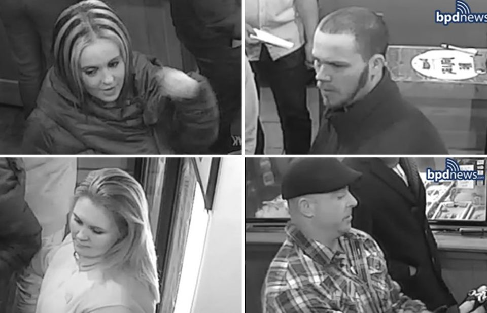 Police released these photos last week of two men believed to be connected to a brutal South End beating and two women considered to be persons of interest.