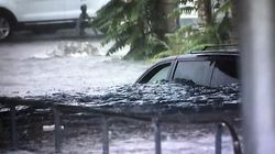 Flash flooding on Kansas Street in Worcester, Aug. 19.