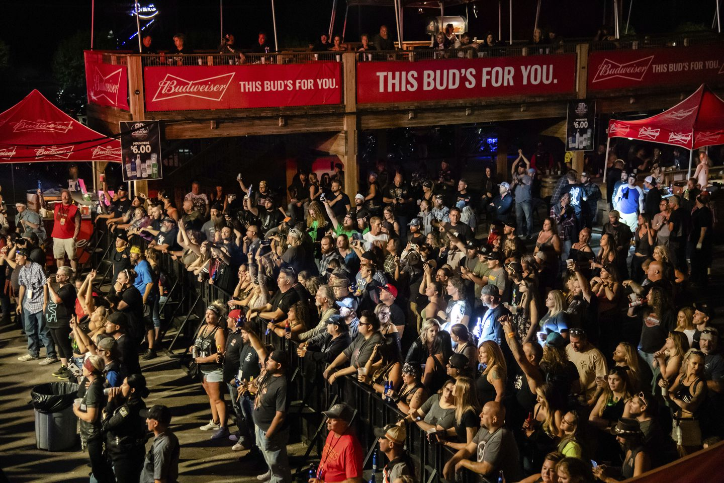 People attended a concert at a massive motorcycle rally in Sturgis, S.D., in August.