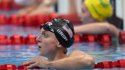 Katie Ledecky of the United States reacts after her silver medal finish in the women's 400-meter freestyle.