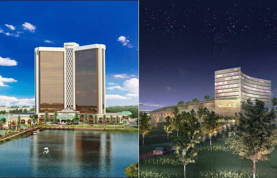 The Wynn Resort casino, at left, would be in Everett. The Mohegan Sun facility, at right, is proposed for Revere.