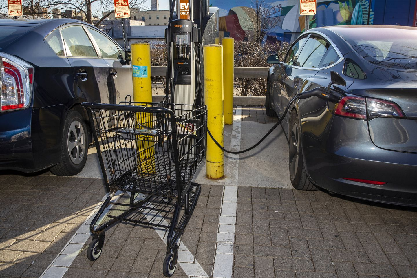 A Tesla electric vehicle (right) was charged in the parking lot of a Whole Foods in March. Governor Baker's administration announced it plans to mandate all new passenger cars sold to be electric by 2035.