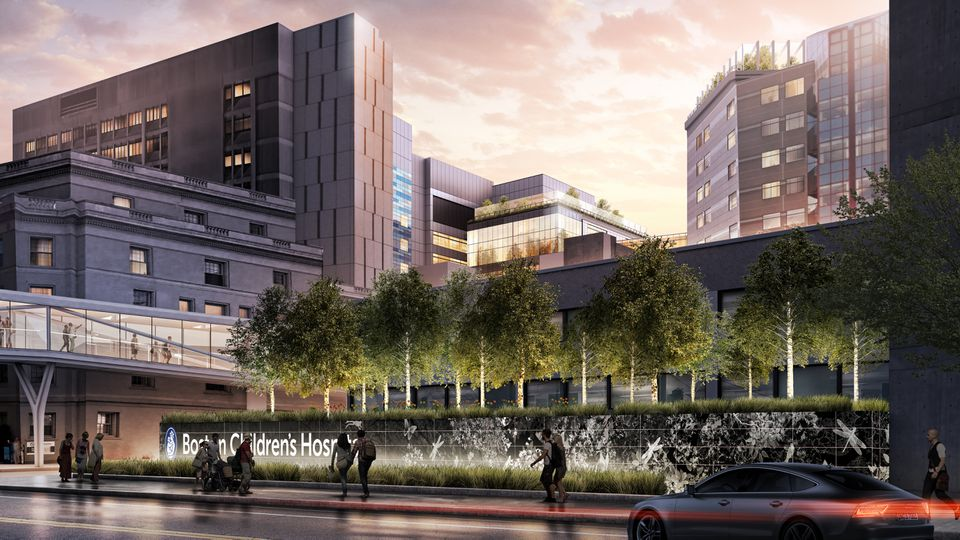 A rendering of the main entrance of Boston Children's Hospital after the campus renovation and expansion project.