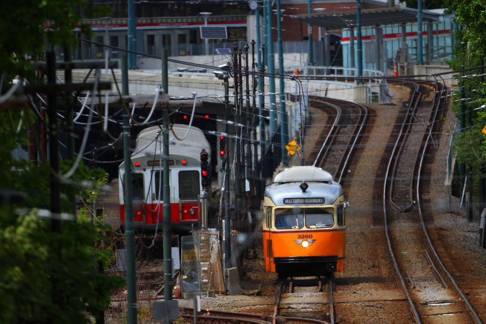 A trolley on the Mattapan Ashmont High Speed Trolley Line leaves Ashmont Station.
