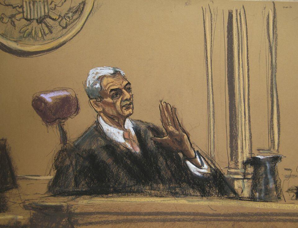 Judge Richard Berman was depicted in another sketch.