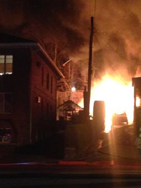 Authorities said members of a family were home at the time of the blaze, but got out safely.