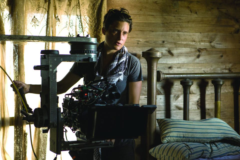"Rachel Morrison on the set of the film ""Mudbound."""