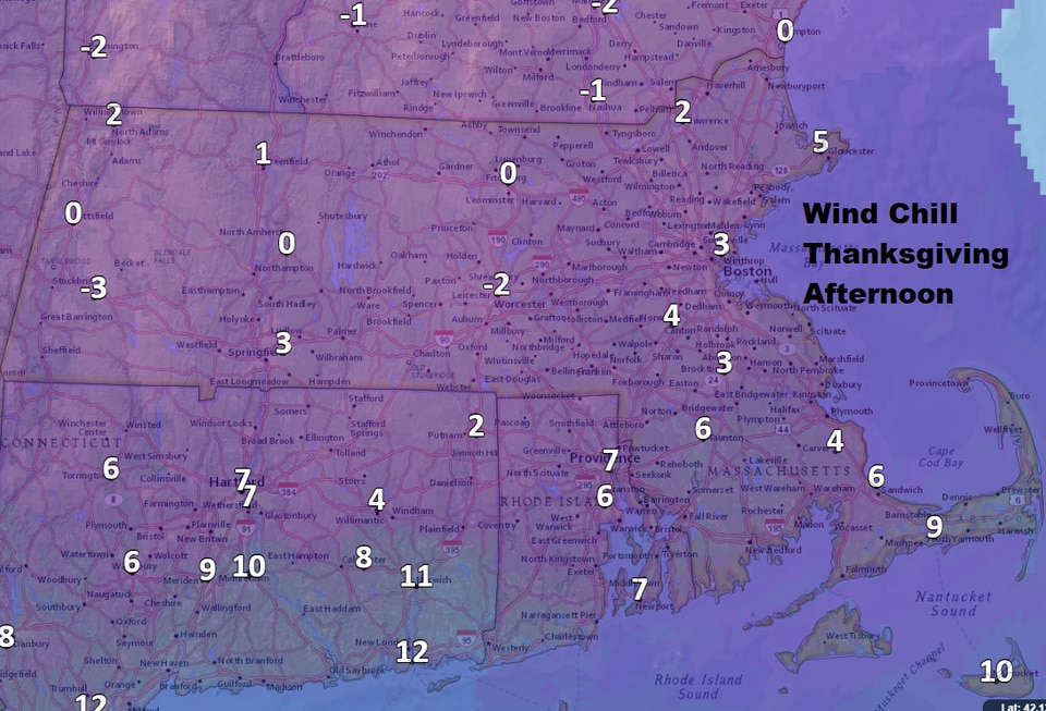 Wind chill Thursday morning will be around 0.