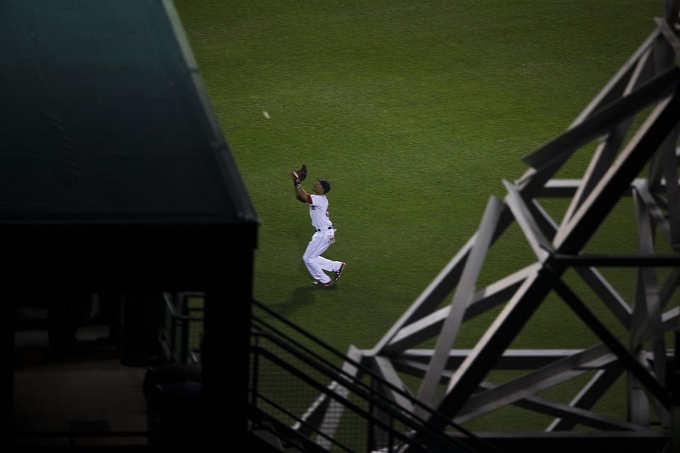 From the Sky Deck, center fielder Mookie Betts can be seen catching a fly ball.