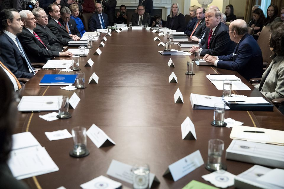 President Trump spoke to reporters during a Cabinet meeting at the White House on Tuesday.