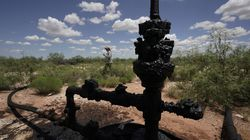 Ashley Williams Watt walked near a wellhead and flowline at her ranch near Crane, Texas. The wells on Watt's property seem to be unplugging themselves.