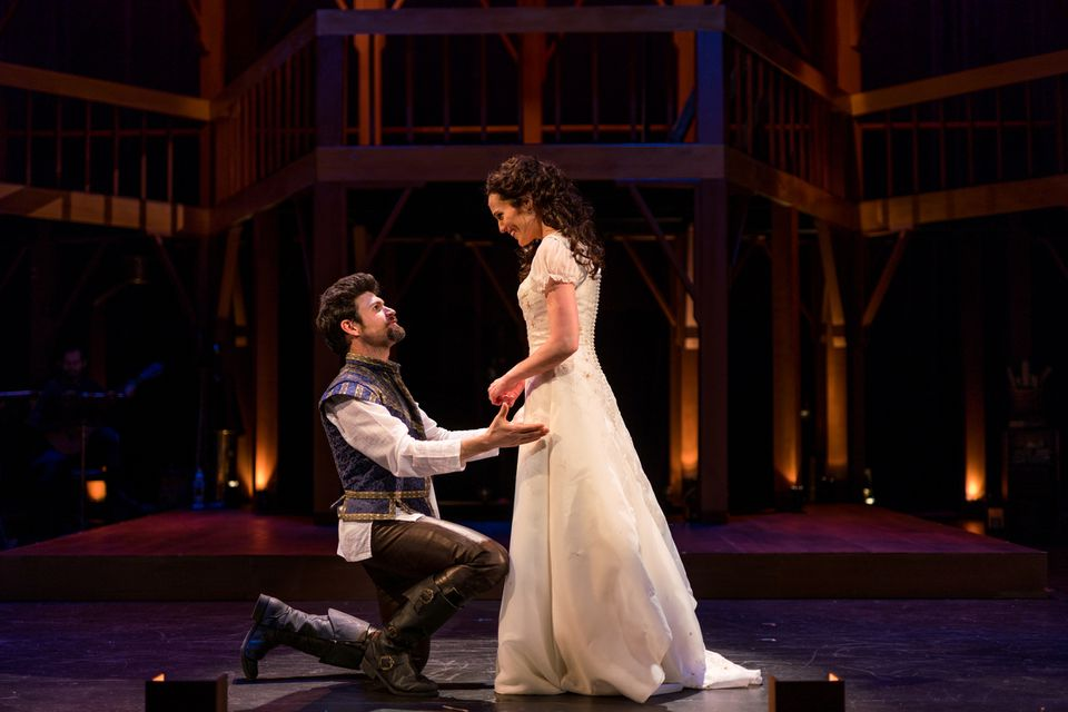 """George Olesky and Jennifer Ellis star in the SpeakEasy Stage production of """"Shakespeare in Love."""""""
