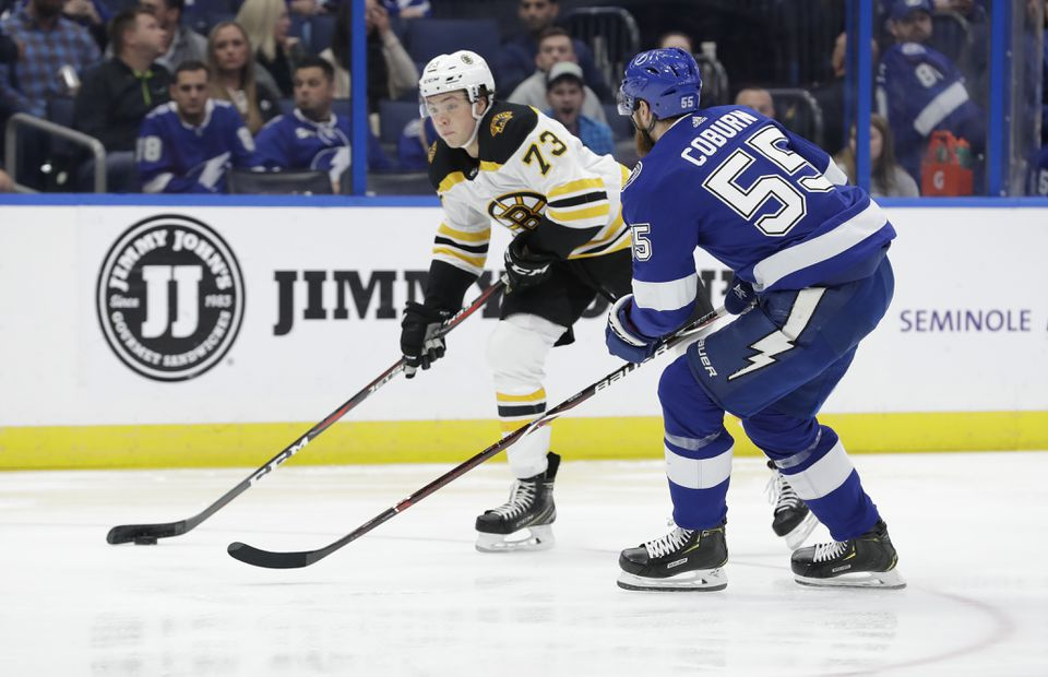 The return of Charlie McAvoy (73) from a seven-game absence was a welcomed sight to the Bruins corps of defensemen.