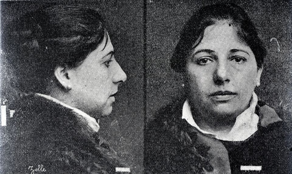 Police photo of Mata Hari in 1917, before her execution as a spy at the age of 41.
