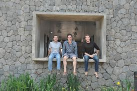 MASS Design project manager Garret Gantner, Murphy, and COO Alan Ricks in Rwanda in November 2011.