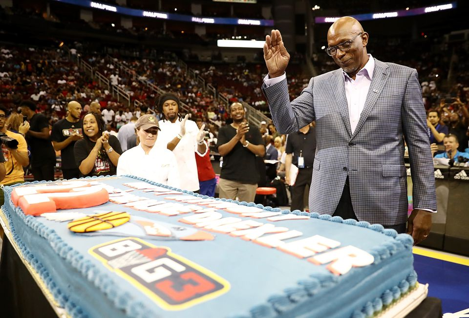 Clyde Drexler's birthday was celebrated at a Big3 event in June.