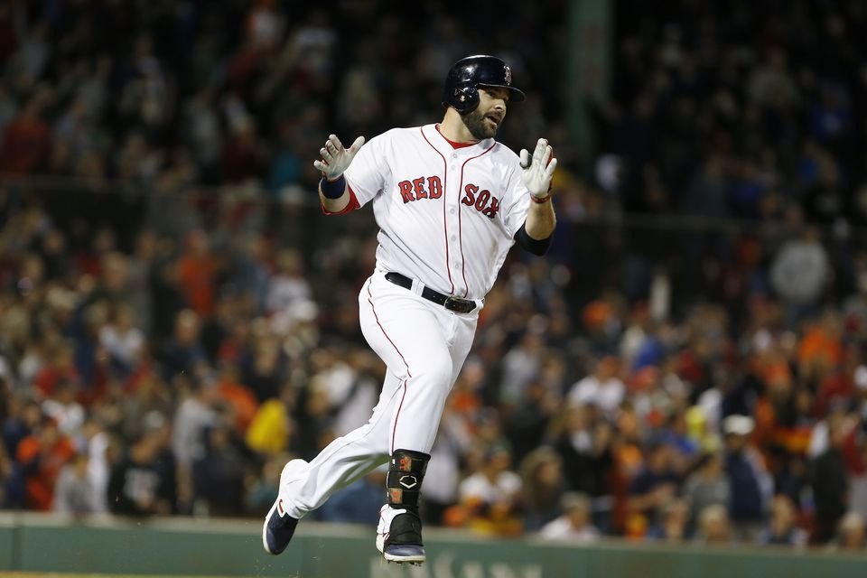 Mitch Moreland reacts to his game-winning RBI against the Astros during the ninth inning at Fenway Park.