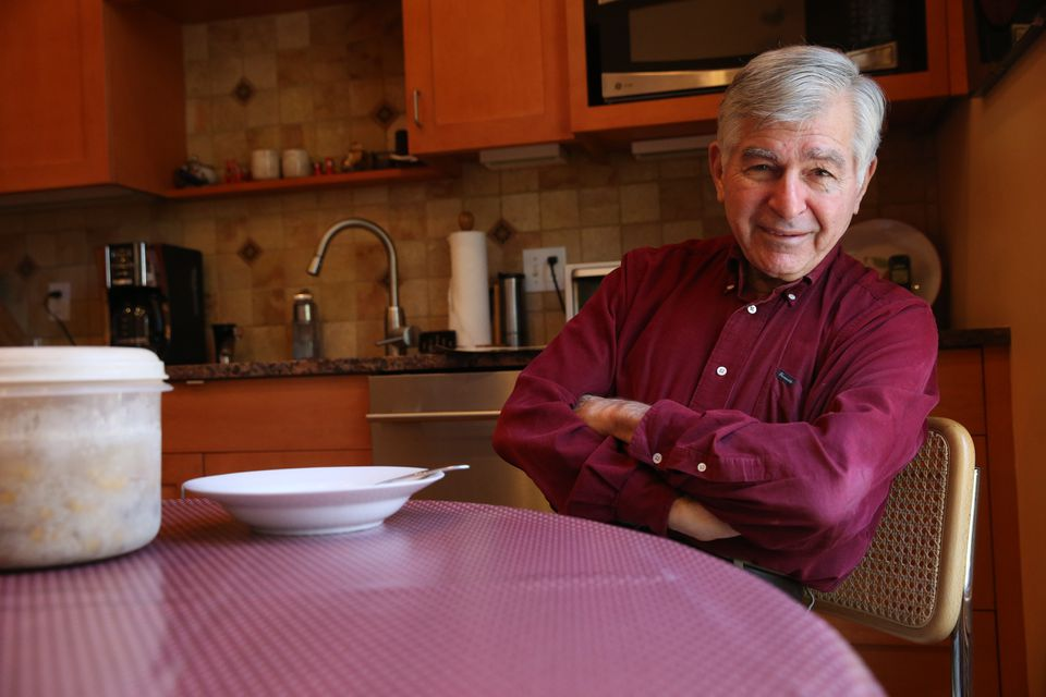 Former governor Michael Dukakis, in the kitchen of his home in Brookline.