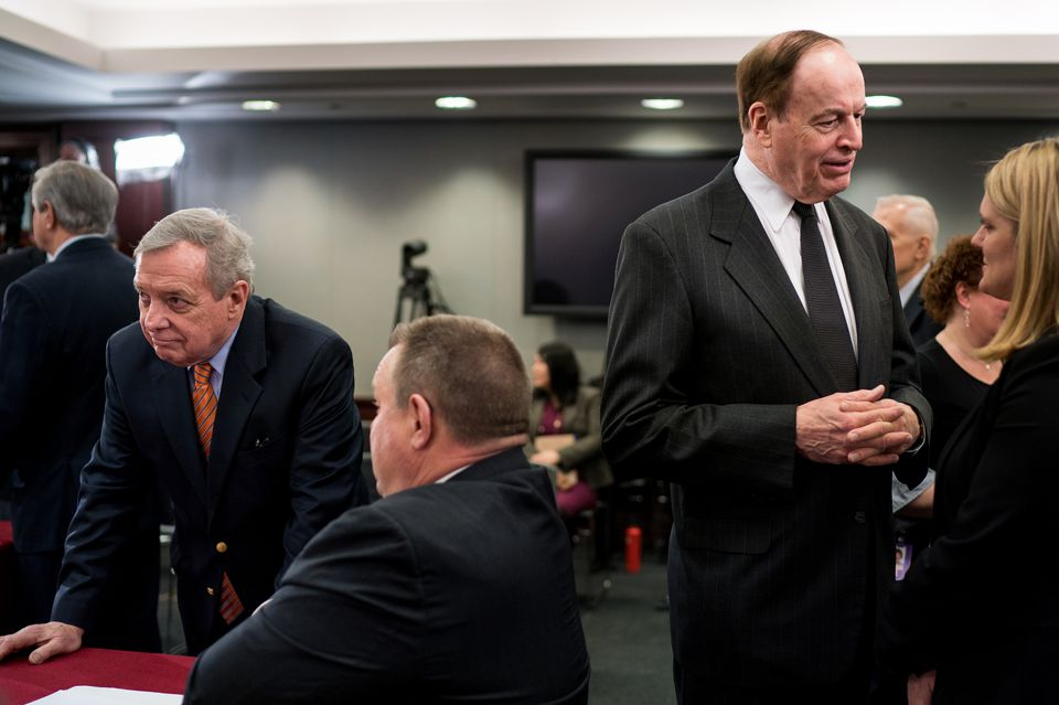 From left: Democratic Senator Dick Durbin of Illinois with Democratic Senator Jon Tester of Montana while Republican Senator Richard Shelby of Alabama spoke to an aide before the start of a Homeland Security Appropriations Conference Committee meeting Jan 30.