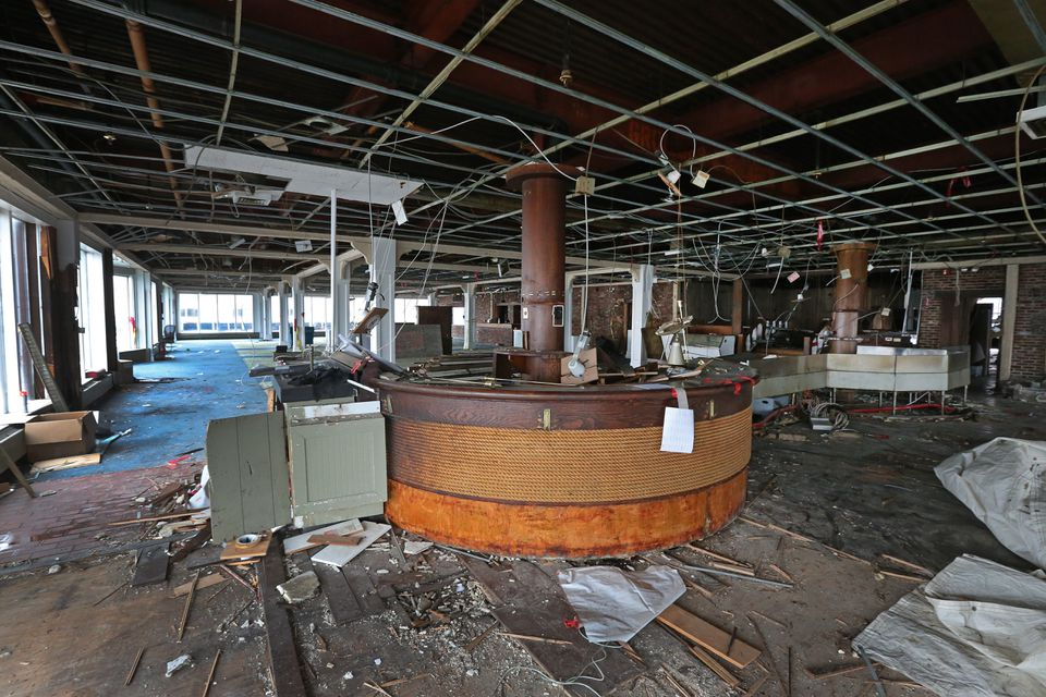 The old ship bar and dining area at Anthony's Pier 4. By this time next year, the iconic building will be gone and construction on a nine-story condo building will be in full swing.