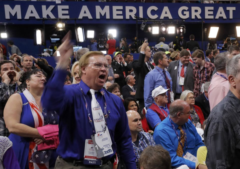 Republican National Convention delegates yelled and screamed as the Chair announces that the convention will not hold a roll-call vote at the Republican National Convention in Cleveland, Ohio, on Monday.