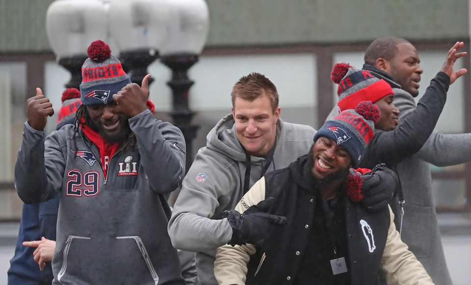 LeGarrette Blount, Rob Gronkowski, and James White celebrated on a duck boat.
