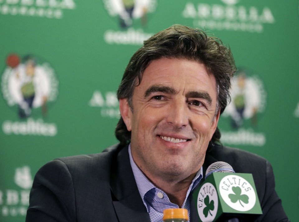 Boston Celtics owner Wyc Grousbeck speaking to members of the media at TD Garden in June.