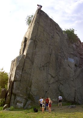 Climbers setted up at the old quarry in Quincy.