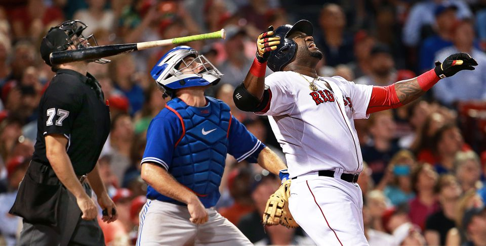 David Ortiz tossed his bat away in disgust after flying to left in the sixth inning.