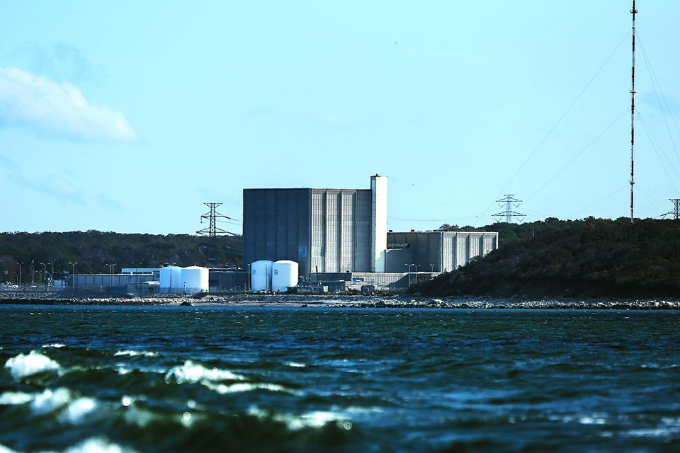 The Pilgrim Nuclear Power Plant as seen from the sea in Plymouth, MA.