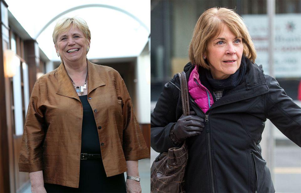 Suffolk University president Margaret McKenna (left) and former Massachusetts Attorney General Martha Coakley.