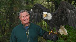 Jeff Corwin with a bald eagle in Alaska.